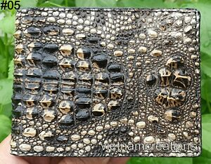 Genuine Alligator Crocodile Leather Skin Men Bifold Wallet Brown Handmade RFID