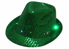 Smiffys Green Sequin Trilby Hat Light Up St Patricks Day Fancy Dress Accessory