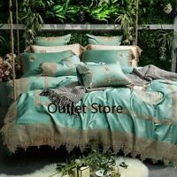 Luxury Egyptian Cotton Lace Embroidery Bedding Set Duvet Cover Bed Sheet 4/7pcs