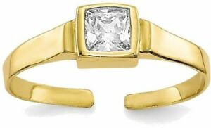 10K Yellow Gold Open Adjustable w/ Square Shape CZ Toe Ring