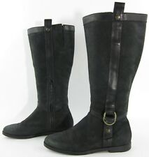 Cole Haan 'Air Liberty' Flat Riding Boot Black Vintage Leather Size 9B $298.00