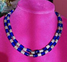 Vtg Wm De Lillo Rich Blue Cabochon Gold Plated NECKLACE - Excellent Condition