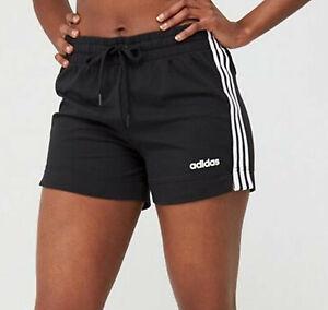 WOMENS ADIDAS ESSENTIALS 3 STRIPES RUNNING SHORTS BLACK TREFOIL UK M,L last 2