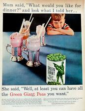 Jolly Green giant peas ad vintage 1955 kid milkshake dinner advertisement