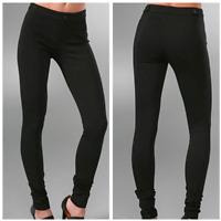 Vince Skinny Riding Pants Womens 2 Black Ponte Knit Seamed Zip Pocket $245