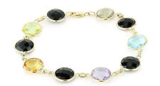 14K Yellow Gold Bracelet With Multi Colore Gemstones and Black Onyx 8 Inches
