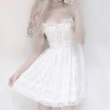 Women Lolita Princess Slip Dress Bowknot Lace Up Ruffle Skirts Costumes Romantic