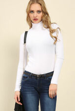 WOMEN RIBBED POLO NECK TOP JUMPER TURTLE NECK LONG SLEEVE PLAIN TOP