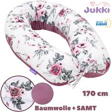 Schwangerschaftskissen Stillkissen Lagerungskissen XXL 170 cm Rosa VELVET Blumen