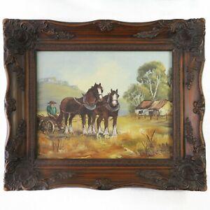 Vintage Ornate Framed Oil Painting, Margaret Mathews Horses Farm Outback Scene