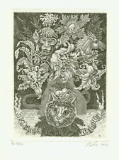"""Ex libris """"From the life of flowers and animals"""" by NOVIKOVA ELENA / Russia"""