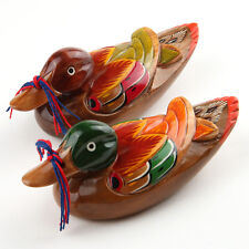 "6.3"" Korean Traditional Lucky Small Wedding Ducks Wooden Sculpture Special Gift"
