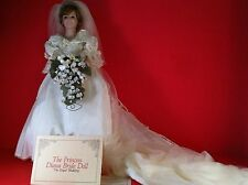 "Danbury Mint Princess Diana Bride Doll Royal Wedding 19"" Porcelain Bouquet Dress"