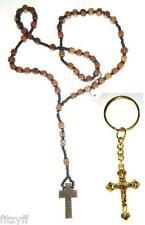 Wooden Rosary Necklace & God Crucifix Keyring Religious Key Ring