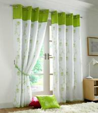 Lime Green White Floral Rose Trail Lined Voile Ring Top Curtains - 3 Sizes 58x90