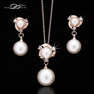 Pearl Beads Necklaces & Pendants 18K Rose Gold Plated Crystal Party Jewelry Sets