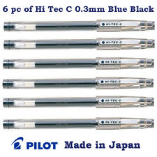 6 pc of Pilot Hi Tec C Pen (Known as G Tec C) 0.3mm Micro fine tip Blue Black