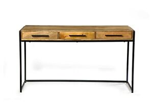 """48"""" L Handmade Indian Wood Iron Console Table With 3 Drawers Storage"""