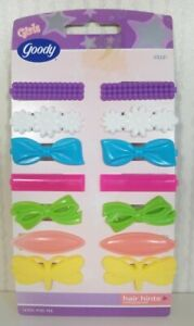 Goody 14 Plastic kiddie Girls Barrettes Butterfly Flower Bows vintage New