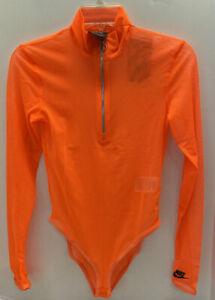Nike Sportswear City Ready Women's Mesh Bodysuit XS Orange Zipper Casual NWT $70