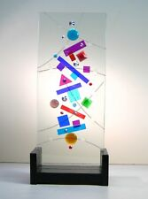 "NEW OAK Dichroic Glass Sculpture ""ACTIVITY"" created by Ray Lapsys"