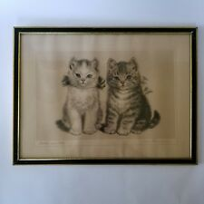 "Meta Pluckebaum Brother and Sister Kittens Print 12""X16"" Metal Frame Cat Vintage"