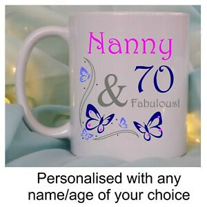 70th birthday gift for her mug personalised fabulous with name and age mum nan