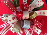 FESTIVE BUNDLES OF CHRISTMAS RIBBONS 10 x 1M PACK WRAPPING WREATHS DECORATION