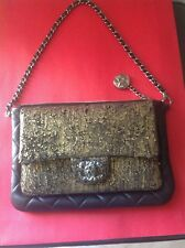 CHANEL CC BLACK / GOLD SMALL EVENING CLUTCH BAG NEW W TAGS MADE IN FRANCE 🇫🇷