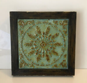 Faux Vintage Style Hammered Ceiling Tin Metal Tile Wall Square Hanging Art Decor