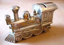 "5.5"" long silver toned polished metal locomotive/choo choo train piggy/coin bank"