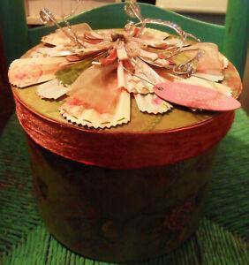 Big TRACY PORTER Flower BOX, Pink Velvet Ribbon, Beads, Seasons of Cannon Falls
