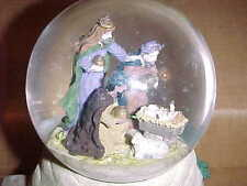 "Vintage Music Box Nativity Water Globe Glitter Globe 7 1/2"" Tall feb8"