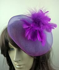 purple feather fascinator millinery burlesque wedding hat bridal race ascot