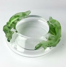 """Lalique France """"Bamako"""" French Frosted Crystal Green Lizard Art Glass Bowl CSL"""