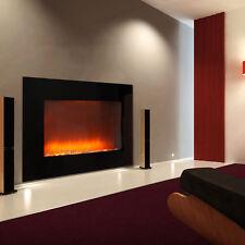 Schwarz Elektrischer Kamin Elektro Kamin Ofen Heizung Heizlüfter LED Feuereffekt