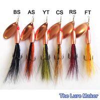 Flying C ,Bullet Head Bucktail  Spinner Lure Copper 12g & 16g 6 Salmon Patterns.