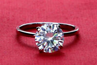 2.00 Ct Round Cut Solitaire Diamond Engagement Ring 14K White Gold Size L M N O