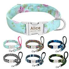Personalised Dog Collar & Leash Engraved ID Name Tags Small Large Dogs Walk Lead