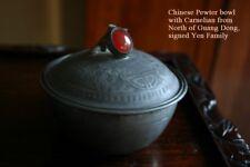 Antique Chinese Pewter Lidded Bowl Carnelian Finial Marked Yan He Shun Late Qing