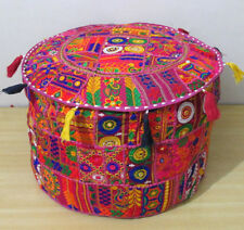 "22"" Ottoman Vintage Footstool Pink Pouf Cover Indian Round Handmade Patchwork"