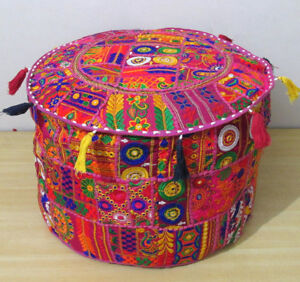 """22"""" Ottoman Vintage Footstool Pink Pouf Cover Indian Round Handmade Patchwork"""