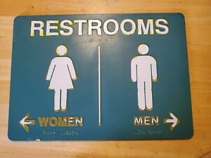 Vintage 90's Frisch's Big Boy Women & Men Restrooms Directional Sign w/ Braille