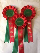 3 X Winner Rosettes In Christmas Themed Ribbon