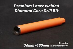 "Premium Laser welded Diamond Core Drill Bit 76mm x 450mm  1-1/4"" NUC"