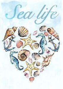 1 Blatt DIN A4 Decoupage Softpapier Sea life