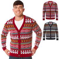 Merry Christmas Men's Snowman Xmas Cardigan Nordic Fairisle Sweater Jumper Top