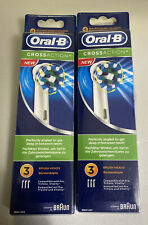 Lot of 2 Braun Oral-B Crossaction Replacement Toothbrush Heads 3 Pack New