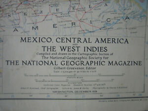 MAP OF MEXICO-CENTRAL AMERICA-WEST INDIES by National Geographic-Dec. 1939