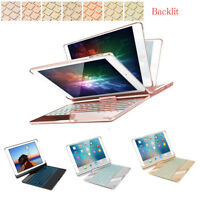 "360 Swivel Stand Bluetooth Backlit Keyboard Case Cover For iPad 9.7"" 5/6th gen"